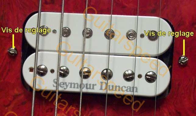 Les vis de réglage de la hauteur des micros de la guitare